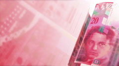 CHF Money Banknotes Rotating Background Loop. Stock Footage
