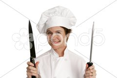 Chef With Knife Stock Photos