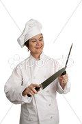 Knife Sharpening Demonstration Stock Photos
