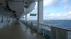 Cruise liner sailing at ocean - sea view from open deck Stock Footage