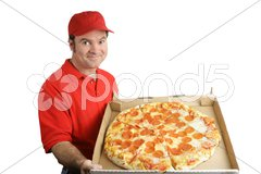 Pepperoni Pizza Delivered Stock Photos