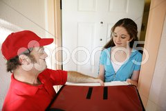 Pizza Delivery at Home Stock Photos