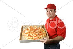 Pizza Man Delivers Stock Photos