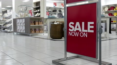 On sale sign inside The Bay store in Burnaby shopping mall Stock Footage