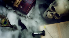 4k Abstract Halloween Background Composition with Skull, Smoke pouring from box Stock Footage