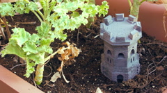 4K Fairy garden faerie small miniature mini castle Stock Footage