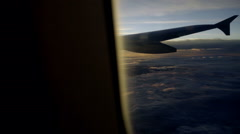Bright sunny airplane window from interior in flight Stock Footage