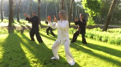 Training in the park. Workout. Group of four people practicing qigong. 4K Stock Footage