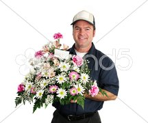 Friendly Flower Delivery Man Stock Photos