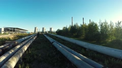 Pipes going to the city thermal power station Stock Footage