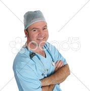 Friendly Doctor in Scrubs Stock Photos
