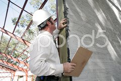 Bulding Inspection Incomplete Stucco Stock Photos