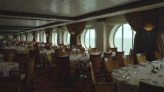 Elegant, stylish restaurant interior - dining room in the cruise ship Stock Footage