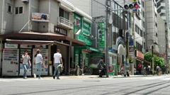 Tokyo -  Street view with people and traffic. Nakano-Shimbashi. 4K resolution Stock Footage