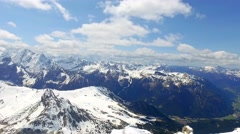 View from the top of Sass Pordoi peak to the valley , Dolomites, Italy Stock Footage
