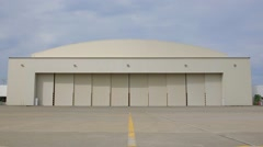 Roller shutters of a large warehousing opening. Stock Footage