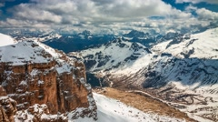 View of the valley from the summit of Sass Pordoi, Dolomites, 4k timelapse Stock Footage