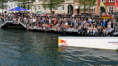 Lots of people are watching the Wakeboard competition Stock Footage