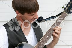 Blues Guitarist Closeup Stock Photos
