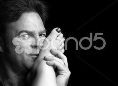 Passionate Foreplay B&W Stock Photos