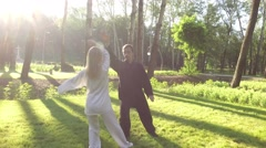 Training in the park. Workout. Blond woman and young man practicing qigong. 4K Stock Footage