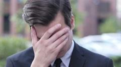 Upset Frustrated Businessman Portrait, Failure, Outdoor Stock Footage