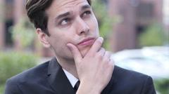 Thinking Pensive Businessman Portrait Stock Footage
