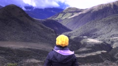 Hiker on the peak of the andean mountains Stock Footage