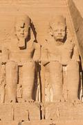Colossal statues of the Ramesses II and Nefertari Stock Photos