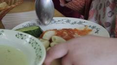 Children have lunch at kindergarten Stock Footage