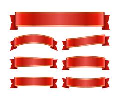 Red ribbon banners set silk Stock Illustration
