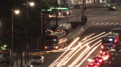 Timelapse of night car traffic on busy streets in Seoul, South Korea Stock Footage