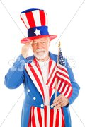 Uncle Sam Salutes America Flag Stock Photos