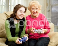 Video Game Fun with Grandma Stock Photos