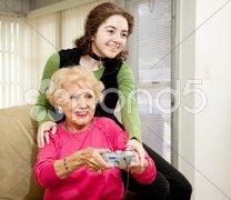Gaming With Grandma Stock Photos