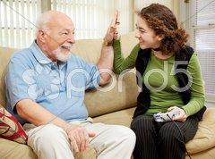 High Five for Grandpa Stock Photos