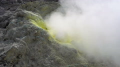 Close up of smoking fumaroles on active Sibayak volcano Stock Footage