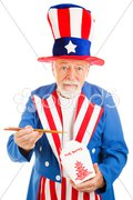 Uncle Sam Eats Chinese Takeout Stock Photos