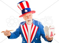 Uncle Sam Eats Chinese Stock Photos