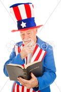 Uncle Sam Reads the Bible Stock Photos