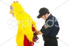 Chicken Man Under Arrest Stock Photos