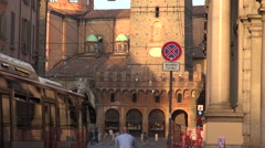 Via Rizzoli street view with famous Two Towers in Bologna Stock Footage