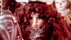 Porcelin doll with wavy hair Stock Footage
