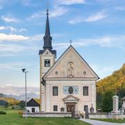 Catholic church in Bohinjska bela village, Bled, Slovenia. Stock Photos