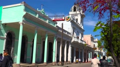 Communist party headquarters in the town of Cienfuegos, Cuba. Stock Footage