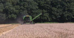 Combine harvester - medium shot - in small scale scenic landscape Stock Footage