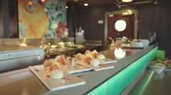 Japanese sushi restaurant on the cruise ship - Serenade of the seas Stock Footage