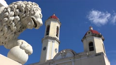 The beautiful towers of the Catedral De La Purisima rise above the public square Stock Footage