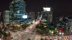 Timelapse of traffic on night busy Seoul streets, South Korea Stock Footage