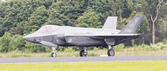 LEEUWARDEN, THE NETHERLANDS - JUNE 10, 2016: Dutch F-35 on the runway during  Stock Photos